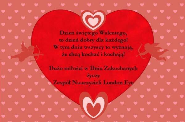 """życzenia Walentynkowe: Szkoła Angielskiego Bochnia """"London"""